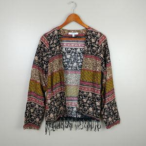Tops - Boho cropped kimono shawl cardigan fringe sz M